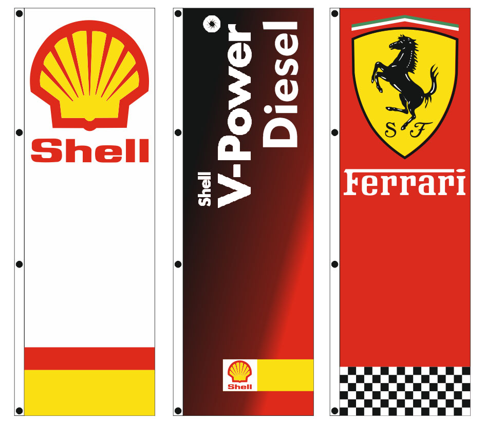 custom advertising flags 100x250cm for the gas station MENTZELIDIS SHELL