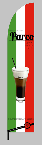 advertising feather flag 70x340cm for PARCO CAFE