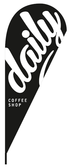 promotional teardrop flags 110x265cm for COFFEE SHOP DAILY